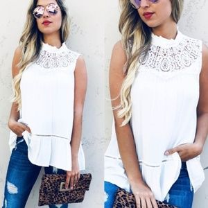 FORGET-ME-NOT Sleeveless Lace Top